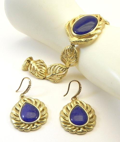 French Designer Inspired  Gold-Tone Faux Oval Lapis-Lazuli Bracelet-Earring Set