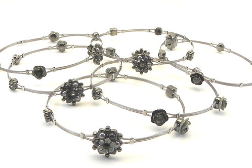 Designer Inspired Stainless Steel Flower Stations Bangle Set