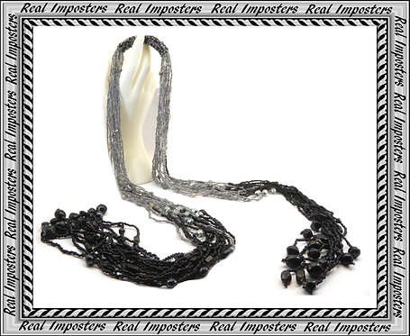 Hand Made Multi Strand Beaded Scarf Necklace-Lariat Black & Grey Combination
