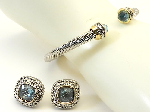 Cable Designer Inspired 2-Tone 4.7MM Cuff Blue-Topaz CZ Tips & Matching Earring
