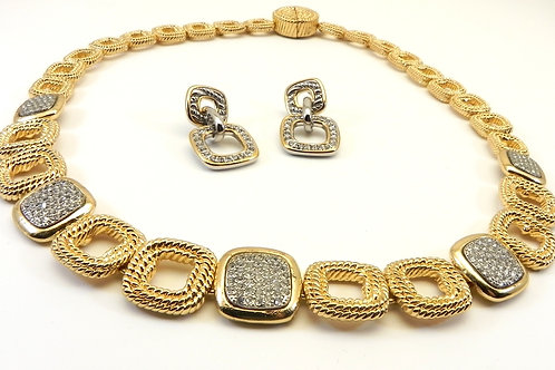 Cable Designer Inspired Stylish Links Gold-Tone Pave Necklace & Earrings Set