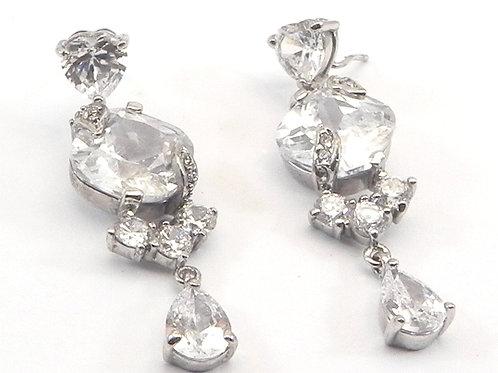 Dazzling Simulated Diamond CZ Heart, Pear, Radiant Dangling Earrings