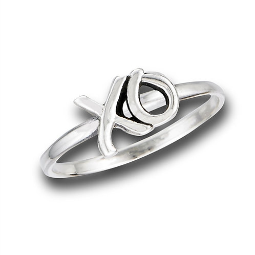 Sterling Silver Petite-Dainty XO Hugs And Kisses Ring Size 7