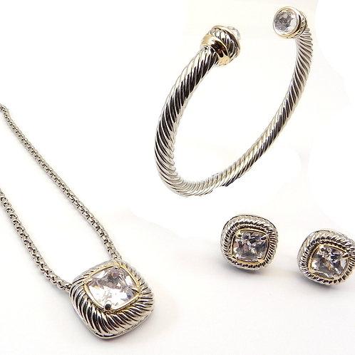 Cable Designer 2-Tone Square Cut Clear CZ Necklace, CZ Earring & CZ Bracelet