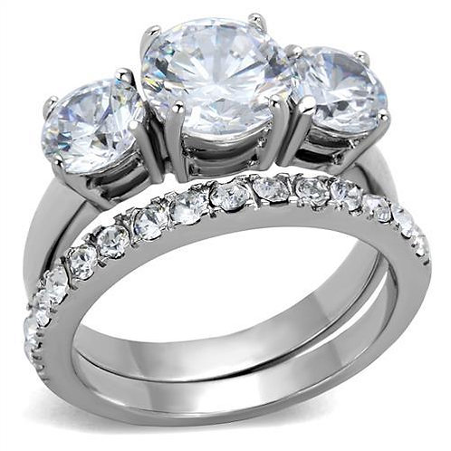 Lovely Bridal Set 3 Stone & Pave Set CZ'S Stainless Steel Engagement Ring