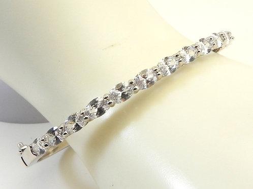 Designer Inspired Silver Tone Oval Cut Prong Set CZ Bracelet