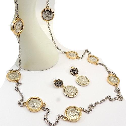 "Designer Inspired 2-Tone Coin 36"" Long Necklace & Dangle Earring Set"