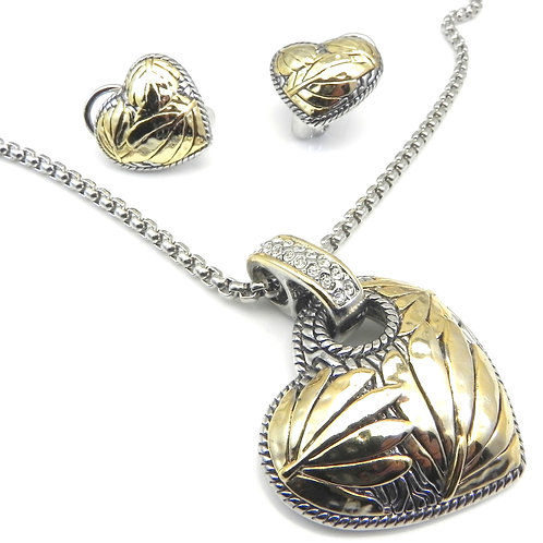 Bali Designer Inspired 2-Tone Heart Slider, Chain & earring 3 Pc Set