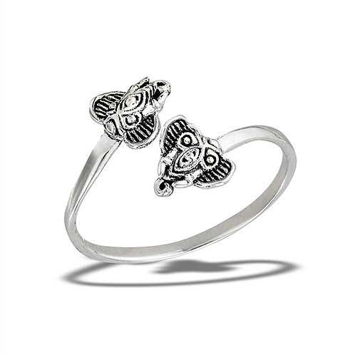 Sterling Silver Delicate Elephant Friends Ring Size 7