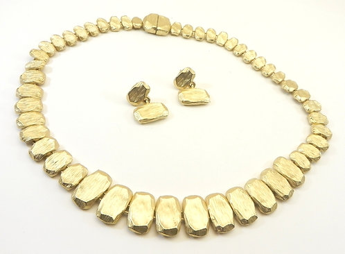 "Designer Inspired Matte Gold-Tone Brushed Texture Links 17"" Necklace-Earring Set"