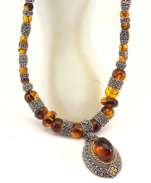 Designer Inspired Silver-Tone Faux Amber Crystal Beads & Oval Ctr Neckl