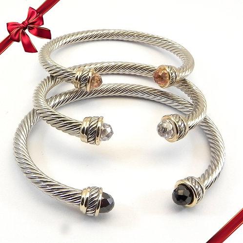 Stacking Bracelet  Set Cable Designer 2-Tone  CZ  Clear, Jet & Champagne