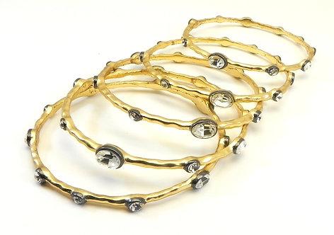 Designer Inspired Gold-tone Austrian Crystal Bangle Bracelet Set of 5