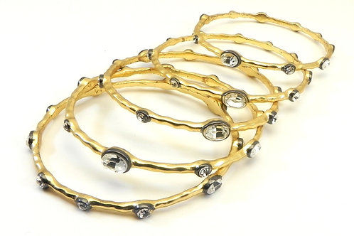 Designer Inspired Gold-tone Austrian Crystal Bangle Bracelet Set of 5