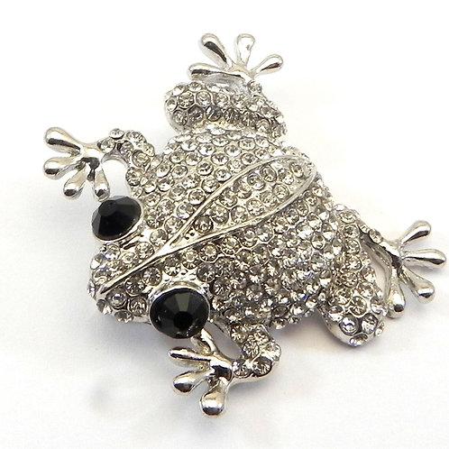 Adorable Vintage Designer Inspired Pave Crystal Frog Brooch