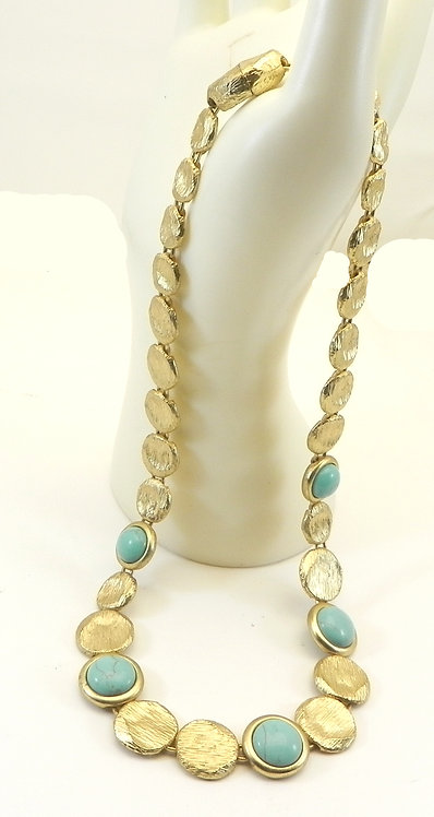 Italian Designer Inspired Brushed Matte Gold Tone & Simulated Turquoise Necklace