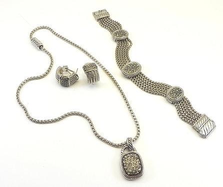 Stunning Designer Inspired Silver-Tone Pave  Necklace, Earring, Bracelet Set