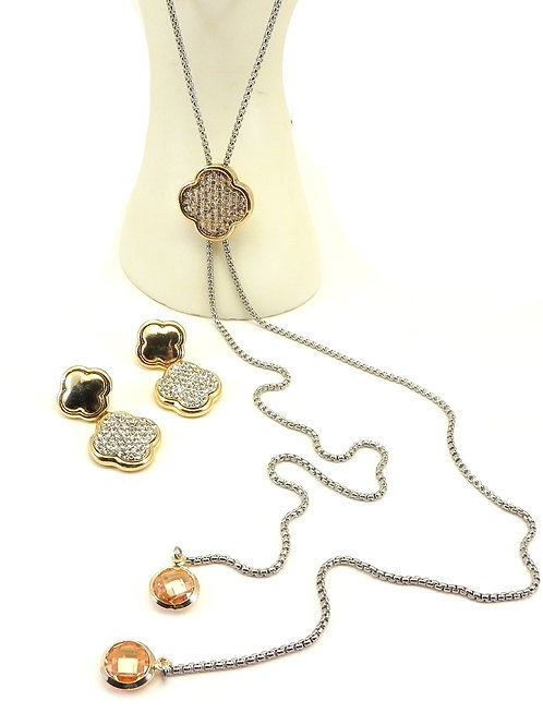 "Cable Designer 2-Tone 34"" Lariat Pave Crystal Clover Necklace & Earring Set"