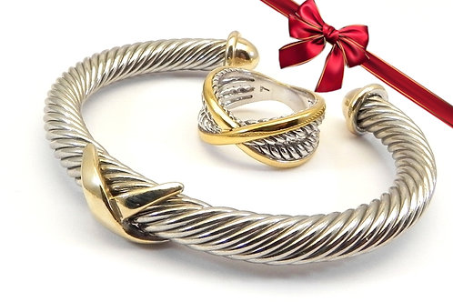 Cable Designer Inspired 2-Tone  X Bracelet & 2-Tone X Ring 6-7-8