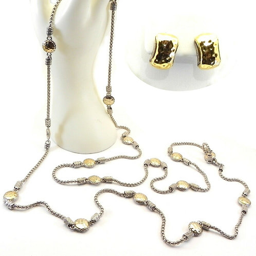 "Designer Inspired 2-Tone 58"" Long Hammered Round Stations Necklace & Earring Set"