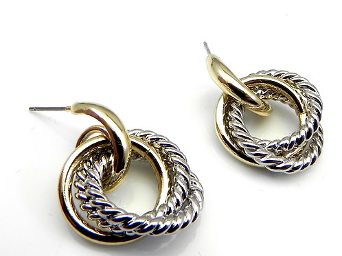 Cable Designer Inspired 2-Tone Dangle Earring-Surgical Steel Post