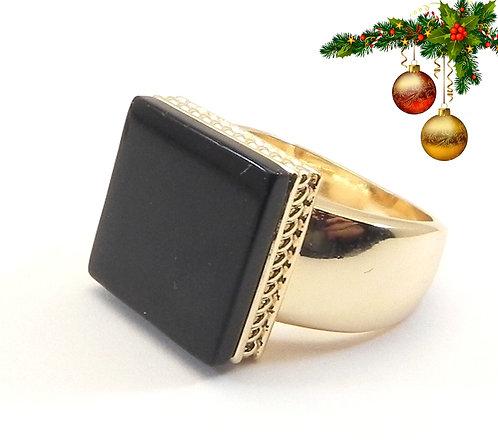 International Designer Inspired Gold-Tone Square Jet  Ring 6-7-8