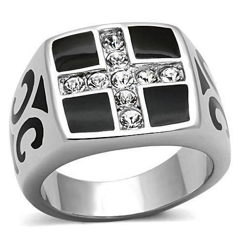 Stainless Steel Men's Ring Christian Fine AAA Crystals & Black Enamel Size 8-13