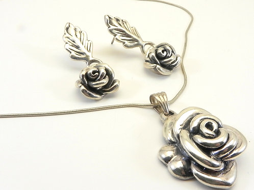 Sterling Silver 925 Sculpted Rose Pendant Chain and Earring Set