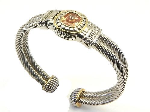 Cable Designer Inspired 2-tone Cuff Bracelet