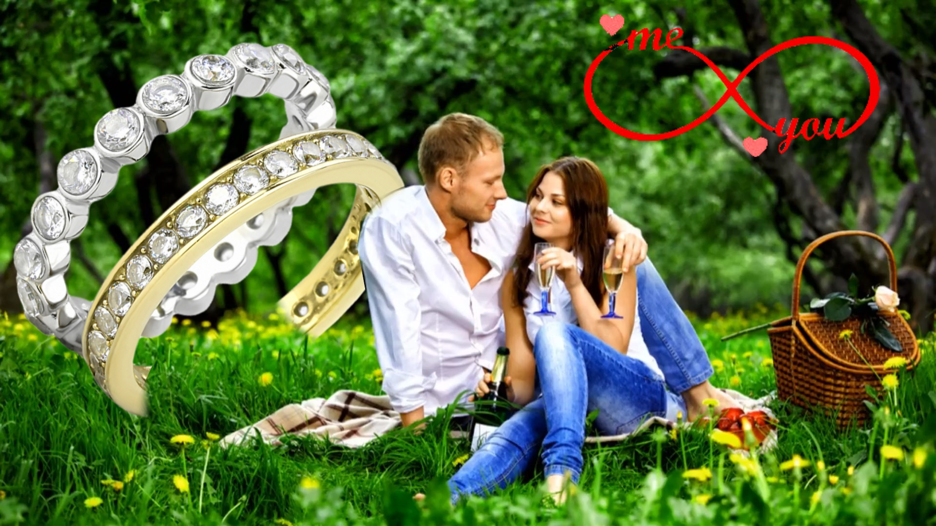 Bridal Set Round Cut CZ 2-Tone Eternity Rings