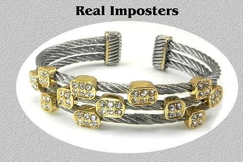 Cable Designer Inspired Bracelet Cuff 2-Tone & Pave Set Swarovski Crystals