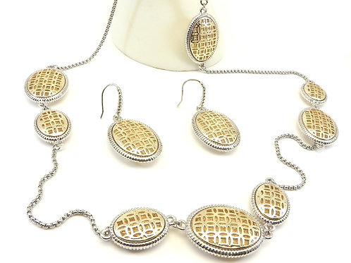 "International Designer Inspired 2-Tone Filigree Stations 36"" Necklace-Earring"