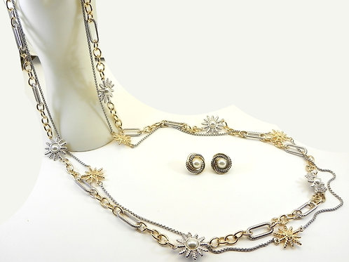 """Cable Designer Inspired  2-Tone 36"""" Double Link faux Pearl Stations & Earring"""