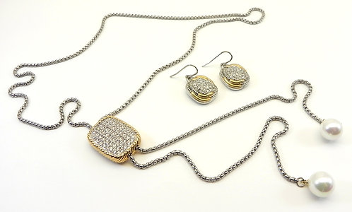 Lariat Designer Inspired  Pave Rectangle 2-ToneSimulated Pearl Tips-Earring Set