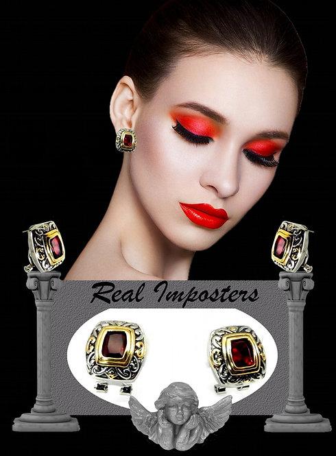 Bali Inspired 2-Tone Simulated Garnet CZ Earring Leverback