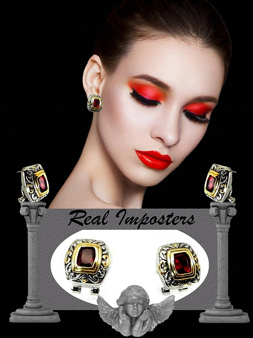 Bali Inspired 2-Tone Simulated Garnet CZ Earring Leverback