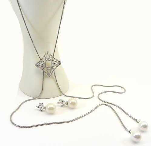 """Designer Inspired Silver-Tone 32"""" Lariat Micro-Pave- Faux Pearls-Earring Set"""