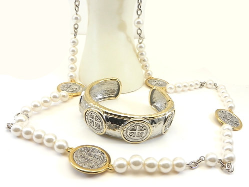 "Designer Inspired 2-Tone Faux Pearls -Coin Stations 36"" Necklace-Bracelet Set"