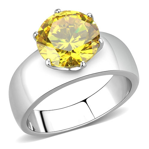 Stainless Steel  Yellow Topaz CZ Round Cut 10 MM 3.16 Ct Ring Size 5-10