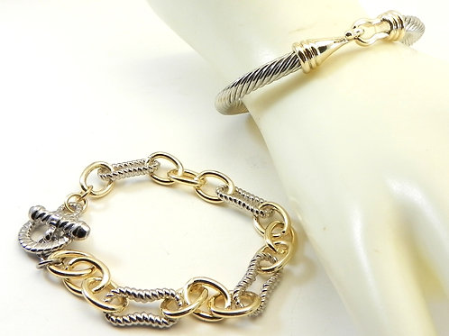 Incredible Duo Cable Designer Inspired 2-Tone Hook Cable & Link Bracelet
