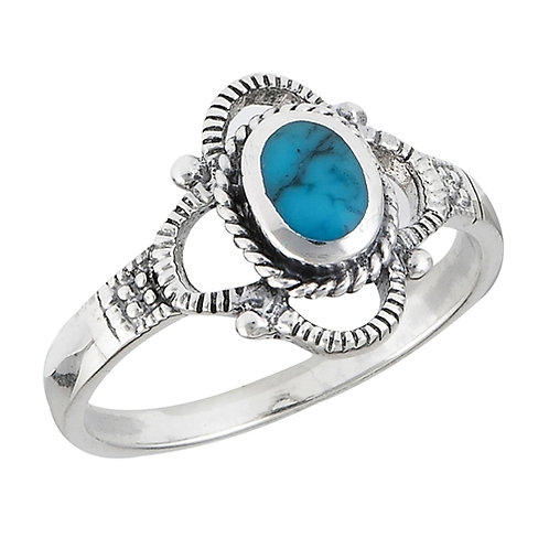 Sterling Silver Sweet Simulated Turquoise Ring Size 6