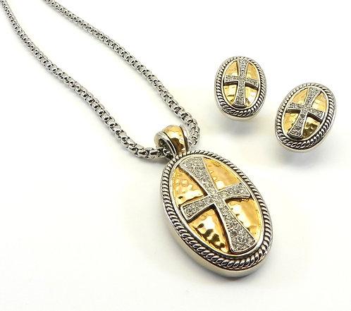 """International Designer Inspired  Pave Austrian Crystal Pendant-Earring-18"""" Chain"""