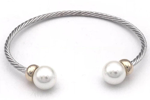 Classic Cable Designer Inspired 2-Tone Simulated Pearl Cuff Bracelet