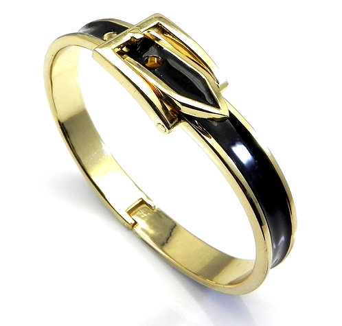 Designer Inspired 14kt Gold IP & Black Enamel Buckle Design Bracelet