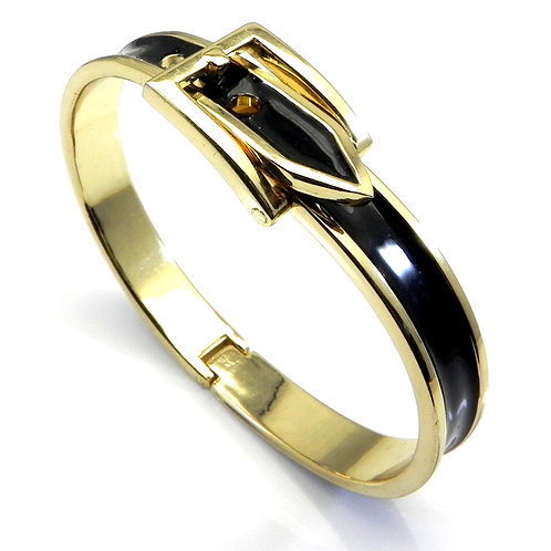 Designer Inspired 14kt Gold IP & Black Enamel Buckle Design Bracelet