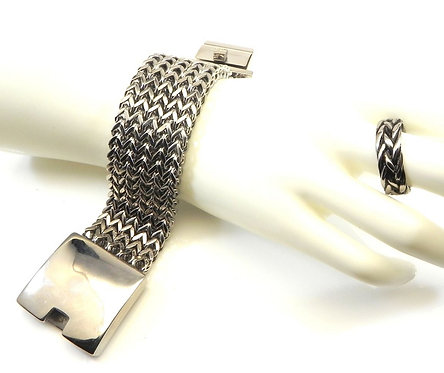 Manly-Bold-Heavy-Dashing Stainless Steel Link Bracelet & Ring Set 8-13