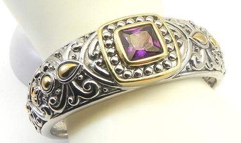 Bold Designer Inspired 2-Tone Amethyst CZ Bracelet