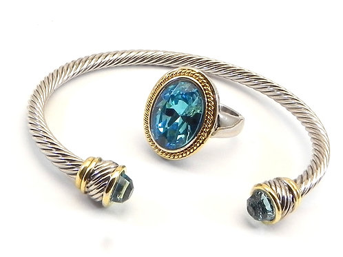 Cable Designer Inspired 2-Tone Sea Blue Cuff Bracelet & Sea Blue Ring 6-7-8-9