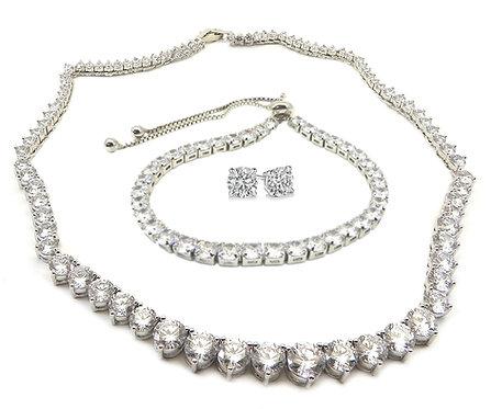"""Tennis Necklace Set  Silver-Tone  15"""" Graduated CZ Lariat Bracelet Earring"""