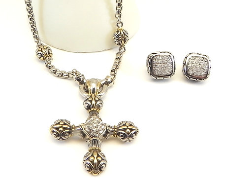 Designer Inspired 2-Tone Maltese Cross Pave Ctr. Matching Pave Earring